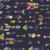 Vector дизайн акварели безшовный с стрелками в этническом стиле Стоковое Фото