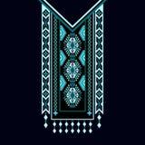 Vector дизайн для рубашек воротника, блузки, футболка Шея 2 цветков цветов этническая Граница Пейсли декоративная бесплатная иллюстрация