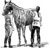 Девушки и лошадь Стоковое Фото