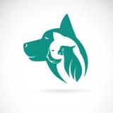 Vector изображение кота и птицы собаки Стоковое Фото