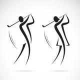 Vector изображение мужчины и женские игроки в гольф конструируют иллюстрация штока