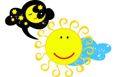 Vector изображение солнца которое думает о луне Стоковое Фото