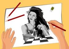 Vector изображение, художник рисует девушку которая играет шахмат иллюстрация штока