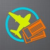 Vector икона с билетами самолета и воздуха иллюстрация вектора