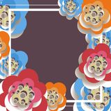 Vector иллюстрация абстрактной предпосылки из рамки и бумажных цветков Стоковое Изображение