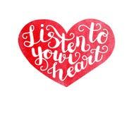 Vector иллюстрация акварели вдохновляющая с сердцем и литерностью иллюстрация штока