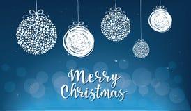 Vector иллюстрация безделушек рождества с литерностью ` с Рождеством Христовым `` стоковая фотография