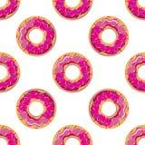 Vector иллюстрация безшовной картины яркого розового донута Стоковая Фотография RF