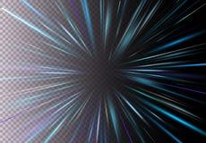 Vector иллюстрация быстрого хода, светового эффекта движения, света с пирофакелом объектива Движение Starburst быстрое на прозрач иллюстрация вектора