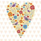 Vector иллюстрация весны сердца птиц и выйдите день ` s валентинки Стоковое Изображение RF