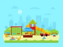 Vector иллюстрация городского ландшафта с парком и спортивной площадкой детей иллюстрация вектора
