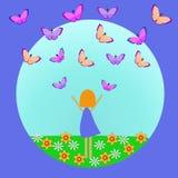 Vector иллюстрация девушки и бабочки для дизайна на теме лета бесплатная иллюстрация