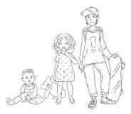 Vector иллюстрация 3 детей различных времен Девушка и мальчик Подросток, младенец и ребенок Стоковые Изображения