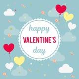 Vector иллюстрация для дизайна дня ` s валентинки Надпись в круге, вокруг облака, воздушные шары, сердца Стоковая Фотография