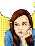 Vector иллюстрация женщины думая и рассматривая вверх предпосылка точечного растра Стоковая Фотография