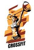 Vector иллюстрация женщины CrossFit на абстрактной предпосылке иллюстрация штока