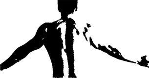 Vector иллюстрация задней части молодого человека изгибая его мышцы иллюстрация штока