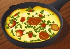 Vector иллюстрация итальянского frittata в железном лотке бесплатная иллюстрация