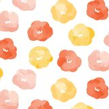 Vector иллюстрация картины цветка акварели на белой предпосылке Абстрактные обои doodle Стоковое Изображение