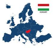 Vector иллюстрация карты Европы с выделенной Венгрией Стоковая Фотография RF