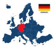 Vector иллюстрация карты Европы с выделенной Германией Стоковое фото RF