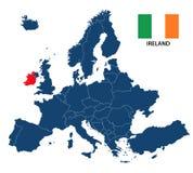 Vector иллюстрация карты Европы с выделенной Ирландией Стоковое Изображение