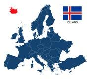 Vector иллюстрация карты Европы с выделенной Исландией Стоковые Фото