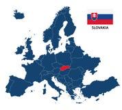Vector иллюстрация карты Европы с выделенной Словакией Стоковое Фото