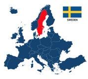 Vector иллюстрация карты Европы с выделенной Швецией Стоковые Фотографии RF
