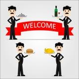 Vector иллюстрация кельнера в черном костюме с подносом Вино, гамбургер, жареная курица Стоковые Изображения RF