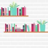 Vector иллюстрация книжных полок с ретро книгами стиля Стоковая Фотография
