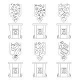 Vector иллюстрация, комплект плоских символов логотипа Рециркулировать элементы отброса Сортировать и обрабатывать отброса исполь Стоковая Фотография RF