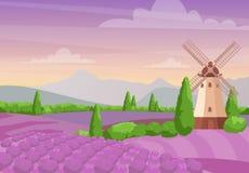 Vector иллюстрация красивого красочного ландшафта с ветрянкой на полях лаванды Ландшафт лаванды с иллюстрация вектора
