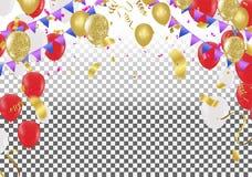 Vector иллюстрация красных и белых воздушных шаров летая в воздухе иллюстрация вектора