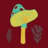 Vector иллюстрация милой нарисованного рукой пластинчатого гриба мухы иллюстрация вектора