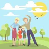 Vector иллюстрация милой семьи на каникулах в парке Стоковое фото RF