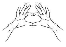 Vector иллюстрация нарисованная рукой на день валентинок Святого Бесплатная Иллюстрация