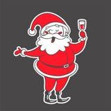 Vector иллюстрация нарисованная рукой Санта Клауса с изолятом питья Стоковая Фотография