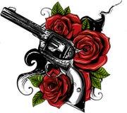 Vector иллюстрация оружи на цветке и орнаментах флористических с стилем чертежа татуировки иллюстрация штока