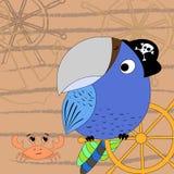Vector иллюстрация пирата шаржа с рулевым колесом ` s корабля и крабом Печать шаржа иллюстрация штока