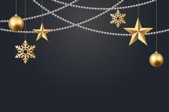 Vector иллюстрация предпосылки 2017 рождества с золотом confetti снежинки звезды шарика рождества и черными цветами Иллюстрация штока