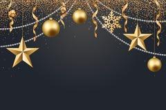 Vector иллюстрация предпосылки 2017 рождества с золотом confetti снежинки звезды шарика рождества и черными цветами Бесплатная Иллюстрация