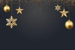 Vector иллюстрация предпосылки 2017 рождества с золотом confetti снежинки звезды шарика рождества и черными цветами Стоковое Изображение