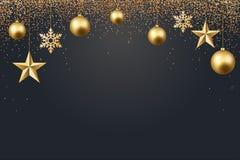 Vector иллюстрация предпосылки 2017 рождества с золотом confetti снежинки звезды шарика рождества и черным цветом Стоковые Фотографии RF