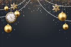 Vector иллюстрация предпосылки 2017 рождества с золотом confetti снежинки звезды шарика рождества и черными цветами Стоковые Изображения RF
