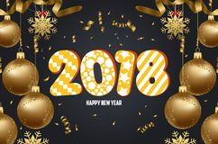 Vector иллюстрация предпосылки 2018 рождества с золотом confetti шариков рождества иллюстрация штока