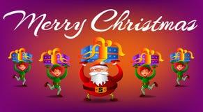 Vector иллюстрация при Санта Клаус и эльфы нося настоящие моменты иллюстрация вектора