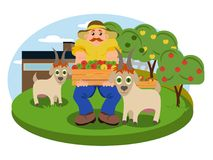 Vector иллюстрация сада с человеком сельской местности Стоковые Изображения RF