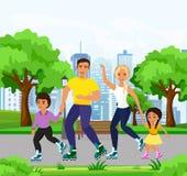 Vector иллюстрация семьи счастливых и smiley катаясь на коньках на коньках ролика в парке Кататься на коньках папы, мамы, дочери  иллюстрация штока