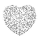 Vector иллюстрация сердца к счастливому дню ` s валентинки состоя из полигонов, пунктов и линий изолированных на белой предпосылк Стоковые Фото